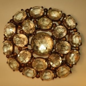 Vintage Antique Round Clear Glass 1940 Brooch
